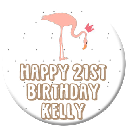Personalised Flamingo Princess Badge 58mm - Each