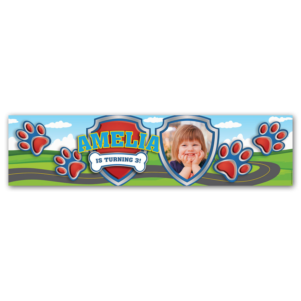 Paw Patrol Puppy Paws Personalised Photo Banner Decoration