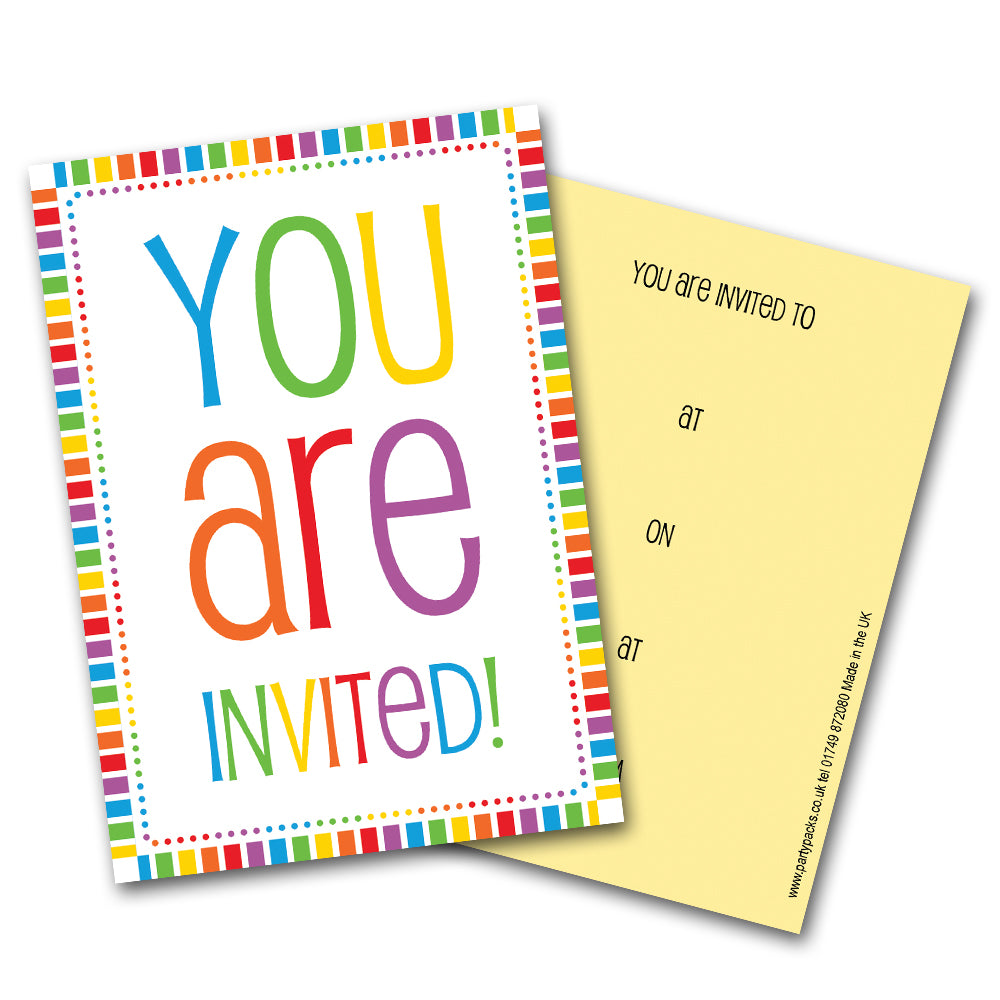 Rainbow Celebration Party Invitations - Pack of 8