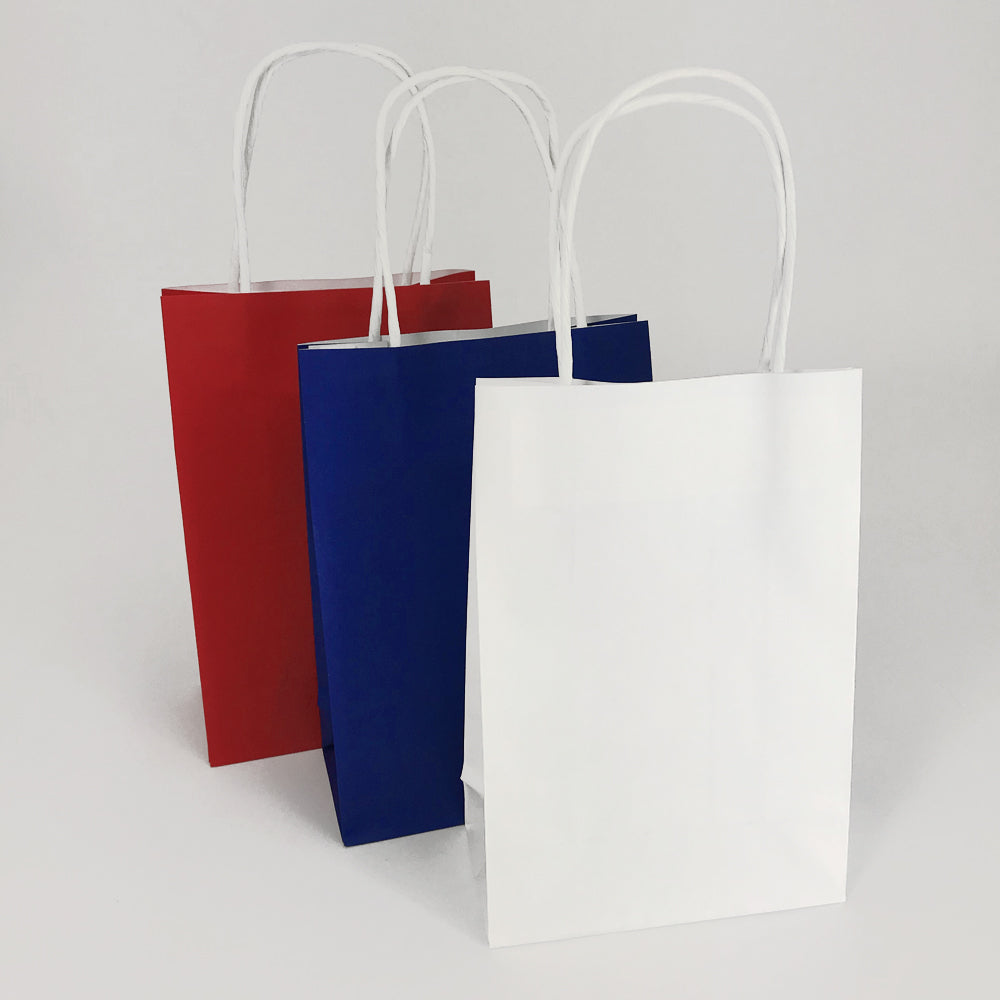 Red, White and Blue Paper Party Bags - Pack of 6