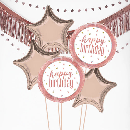 Inflated Rose Gold Birthday Glitz Balloon Bundle in a Box