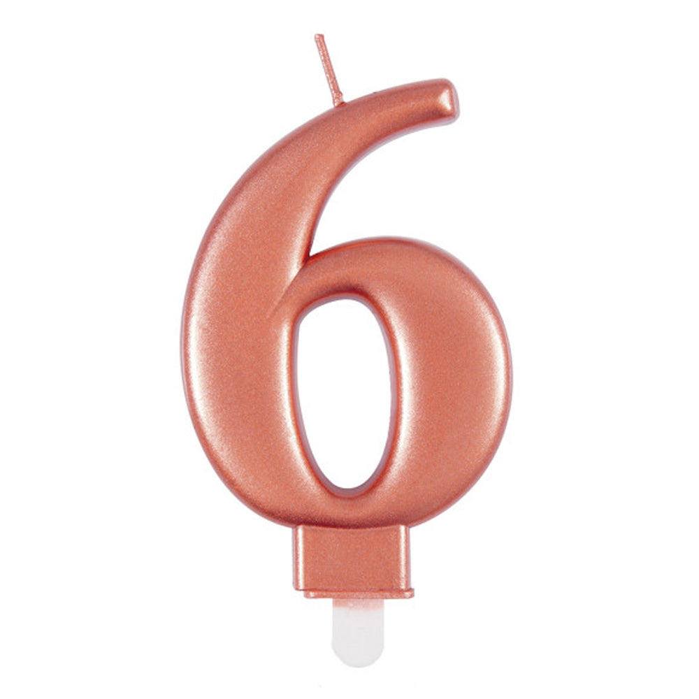 Rose Gold Metallic Number 6 Candle