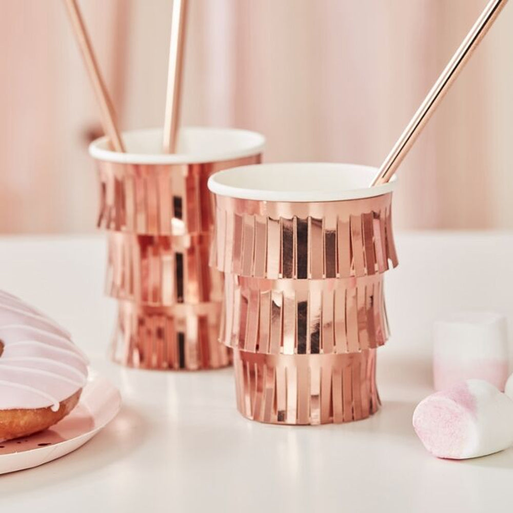 Rose Gold Fringe Cups - Pack of 8