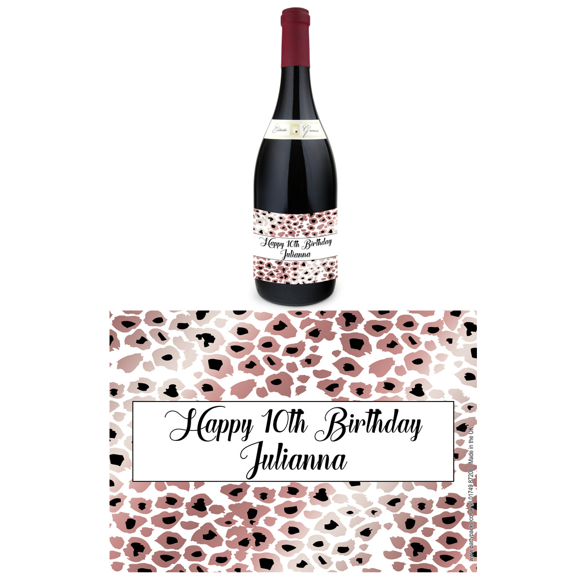 Personalised Wine Bottle Labels - Rose Gold Leopard Print - Pack of 4