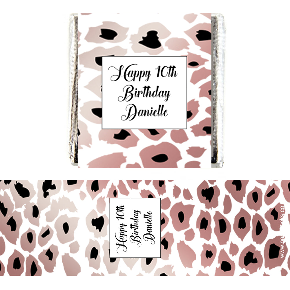 Personalised Chocolates - Rose Gold Leopard Print - Pack 16