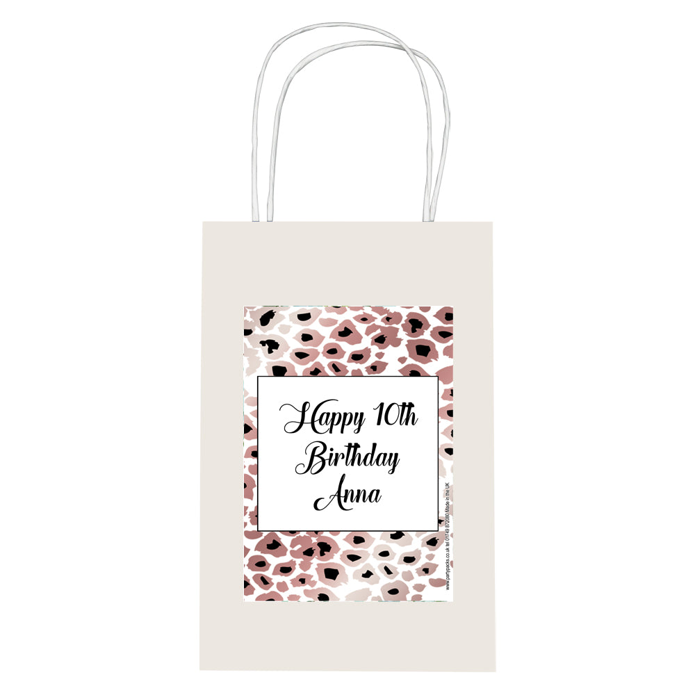 Personalised Rose Gold Leopard Print Paper Party Bags - Pack of 4