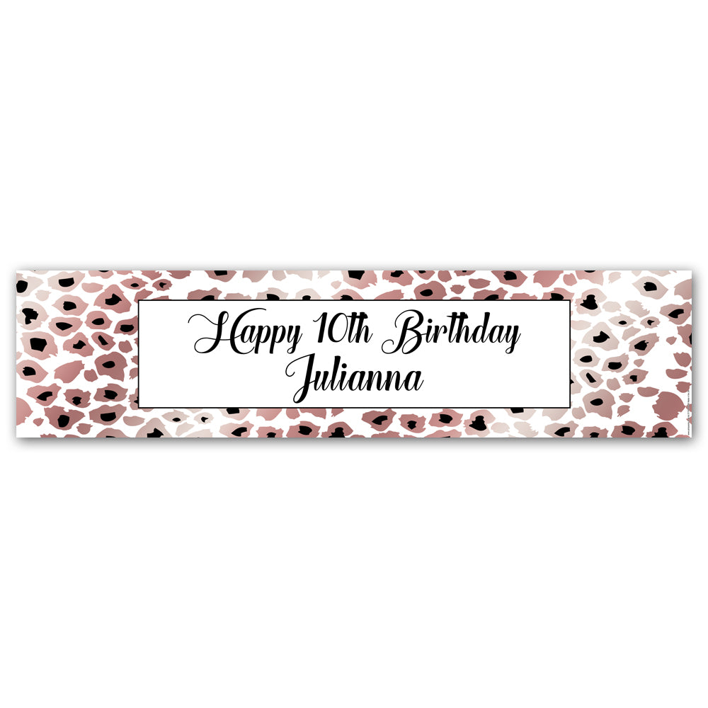 Rose Gold Leopard Print Personalised Banner - 1.2m