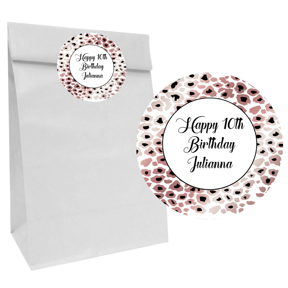 Rose Gold Leopard Print Party Bags with Personalised Stickers - Pack of 12