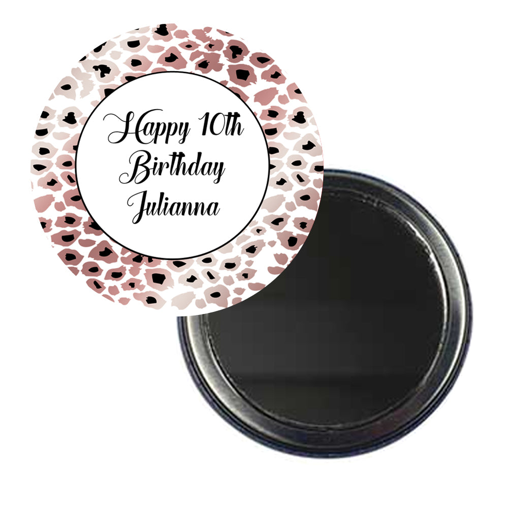 Personalised Pocket Mirror - Rose Gold Leopard Print