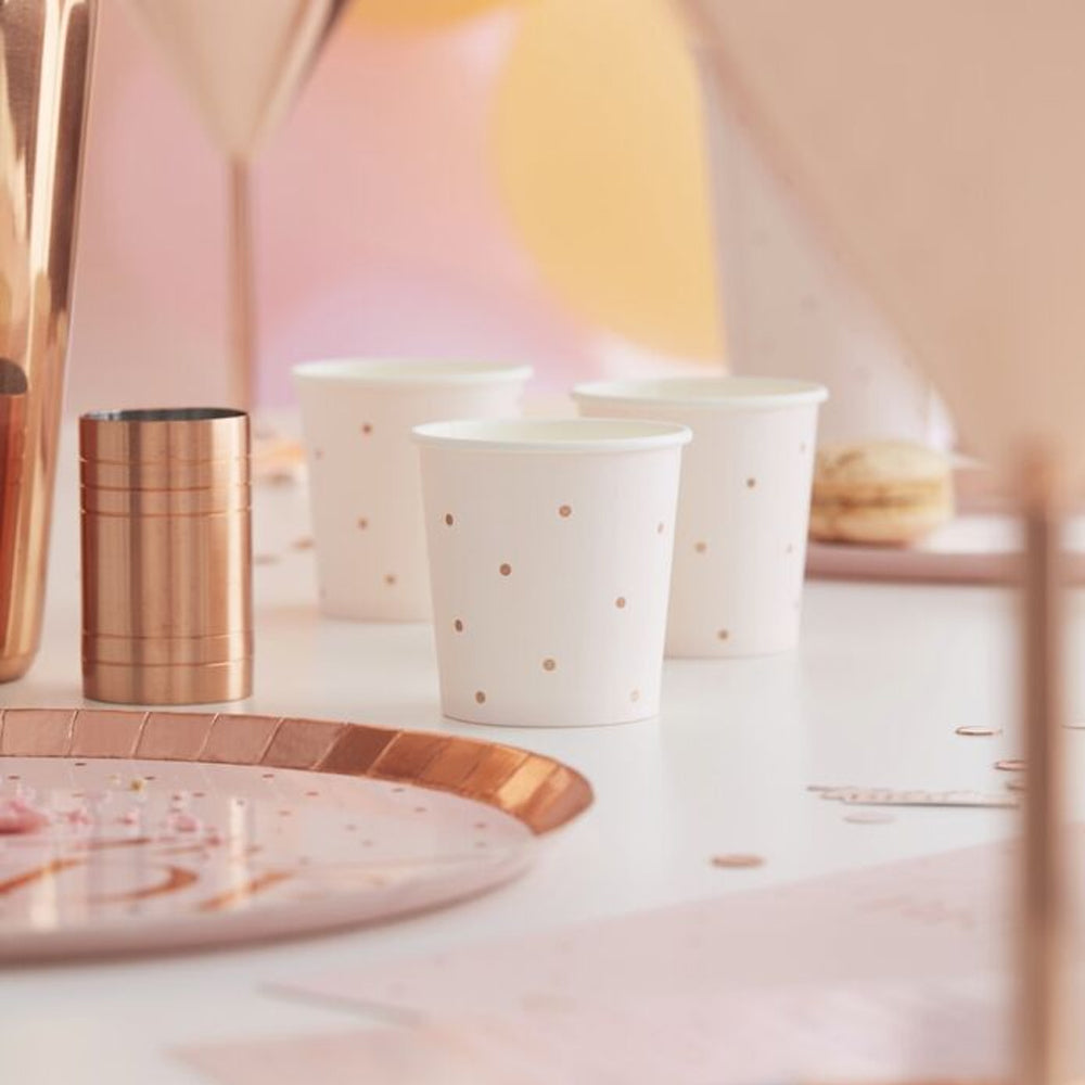 Rose Gold Spotty Paper Shot Cups - 4oz - Pack of 10