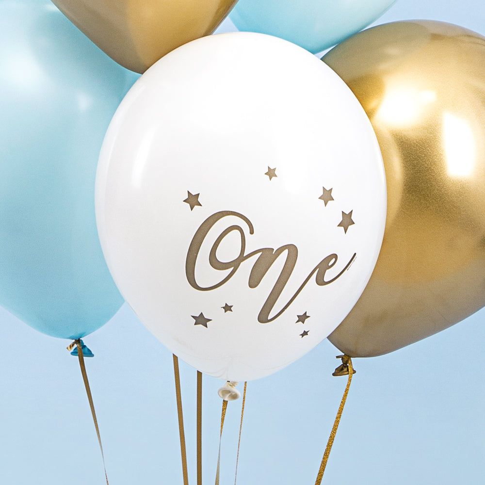 "White 'One' 1st Birthday Latex Balloons - 11"" - Pack of 10"