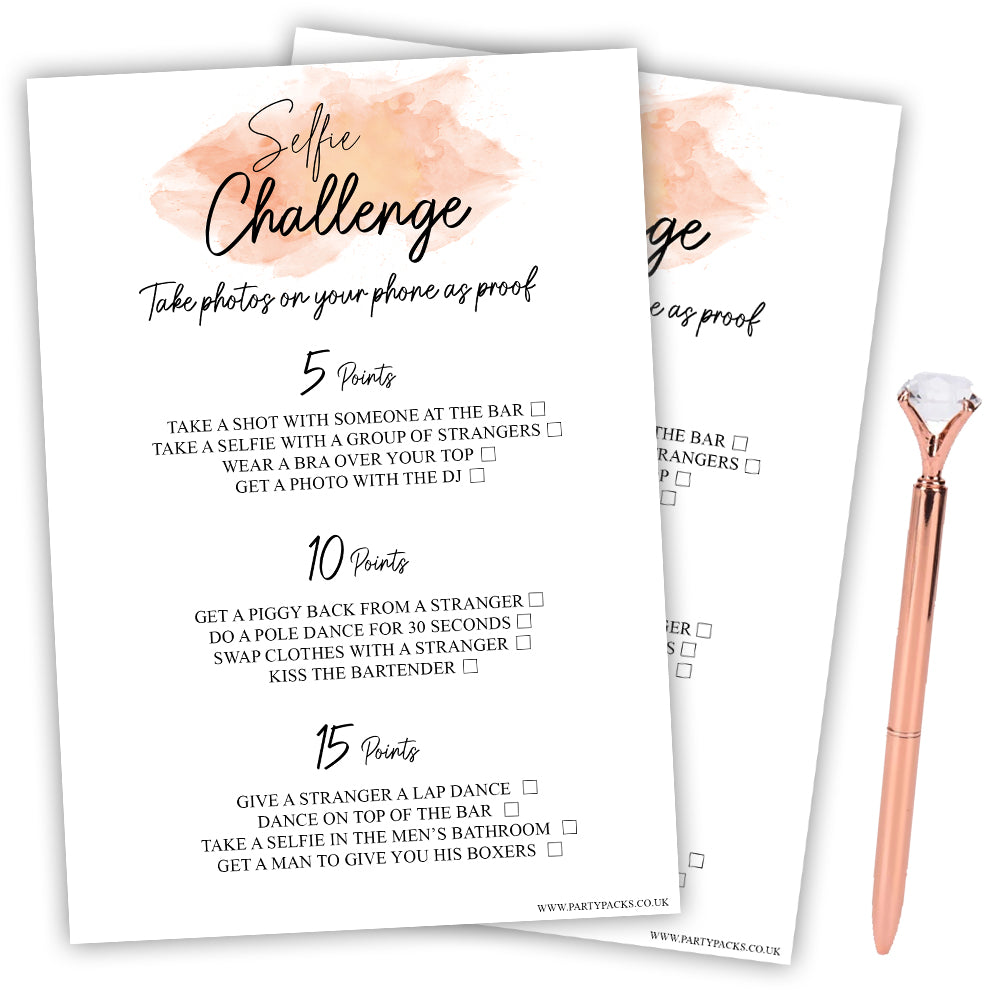 Hen Party Selfie Challenge Game - Pack of 8