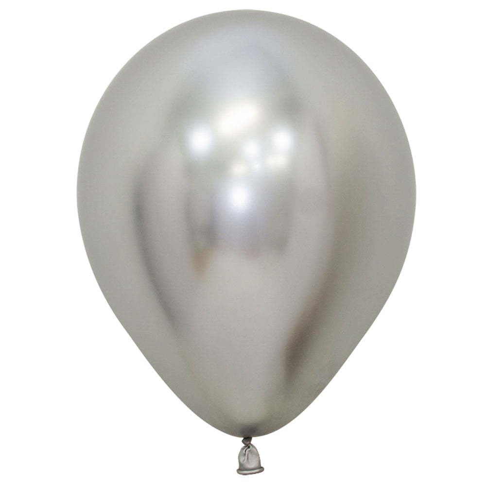 "Silver Chrome Metallic Latex Balloons - 11"" - Pack of 10"