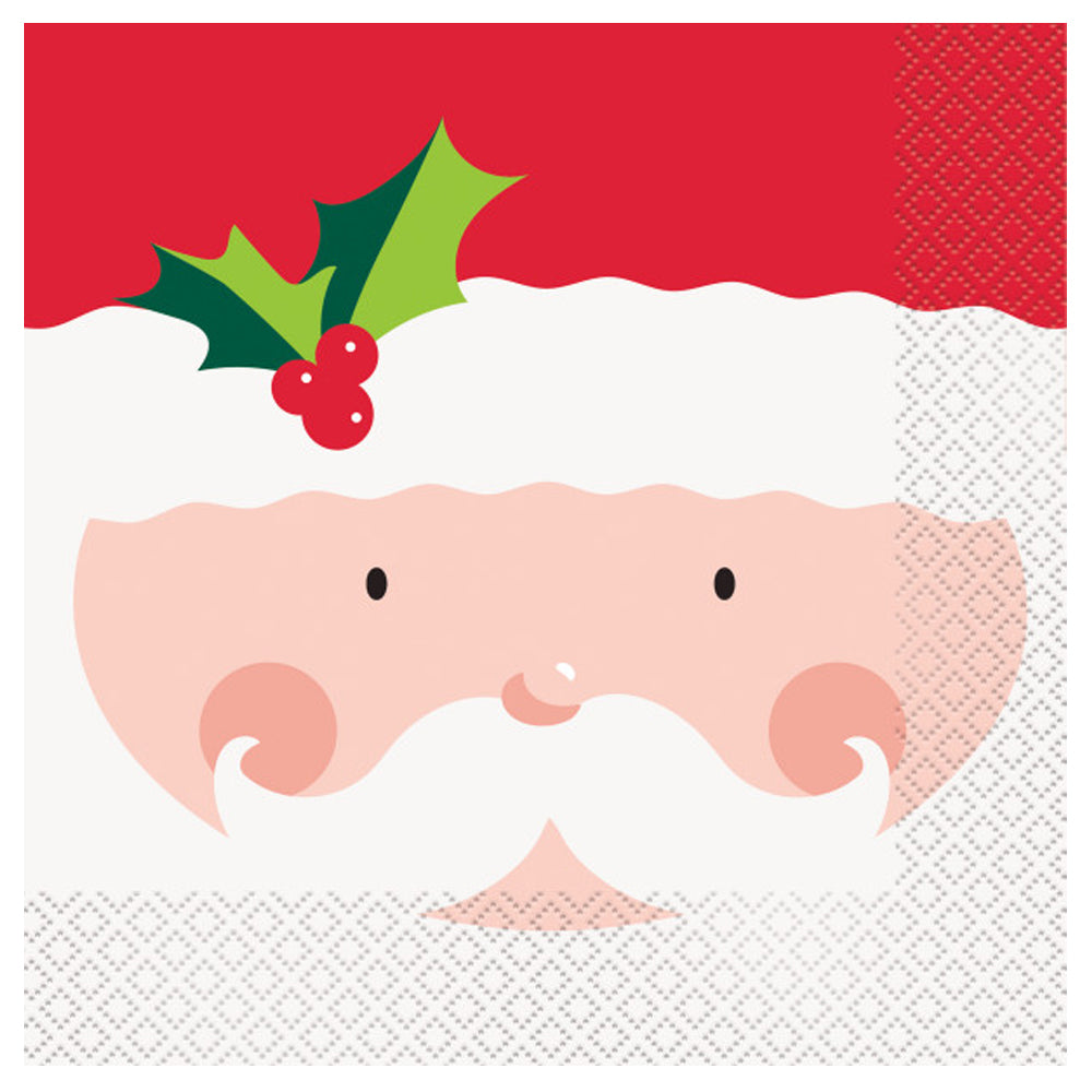 Holly Santa Napkins - 33cm - Pack of 16