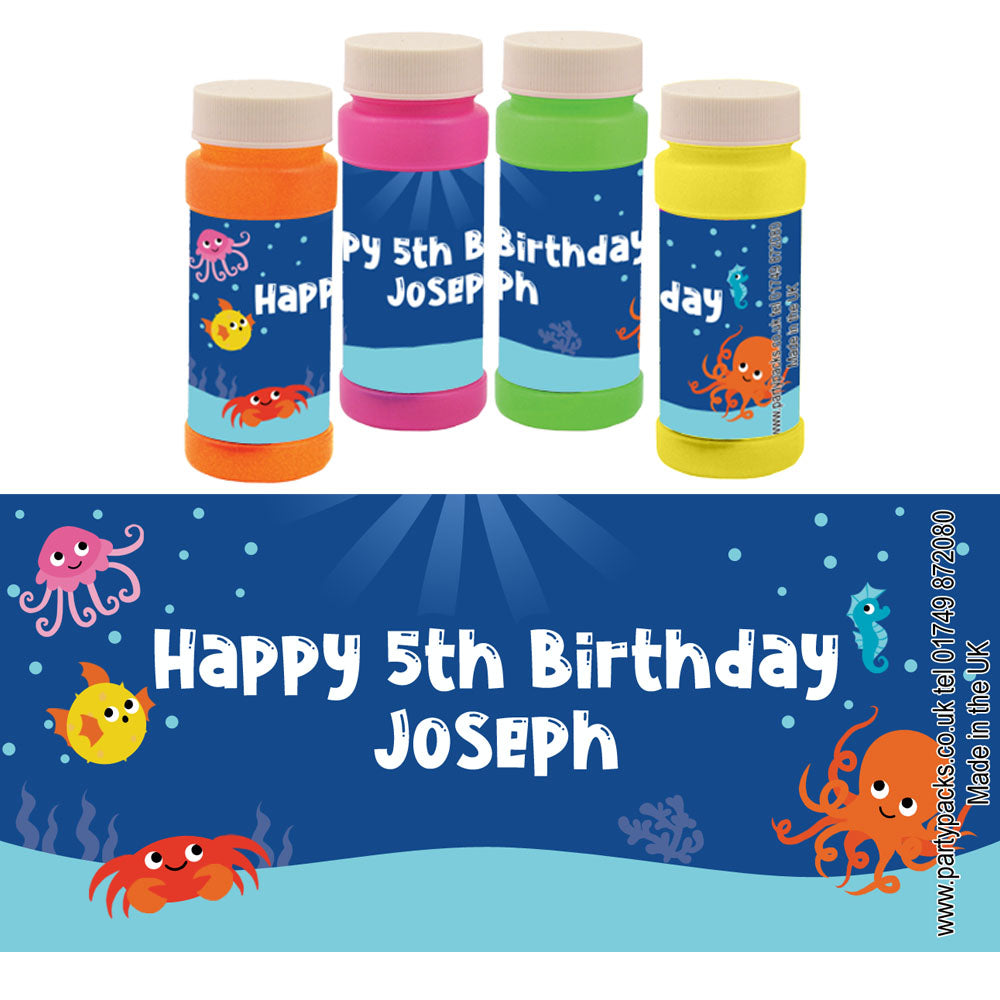 Personalised Bubbles - Sealife - Pack of 6