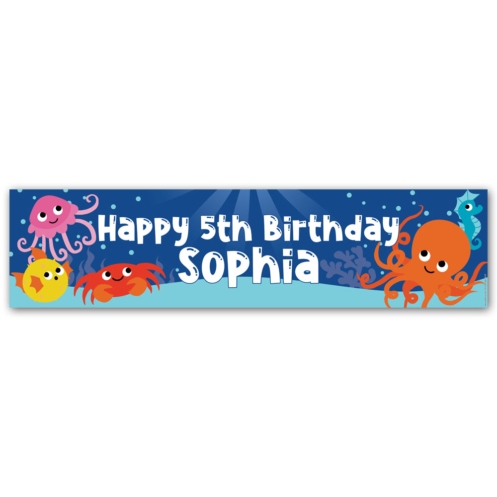 Sealife Party Personalised Banner Decoration - 1.2m