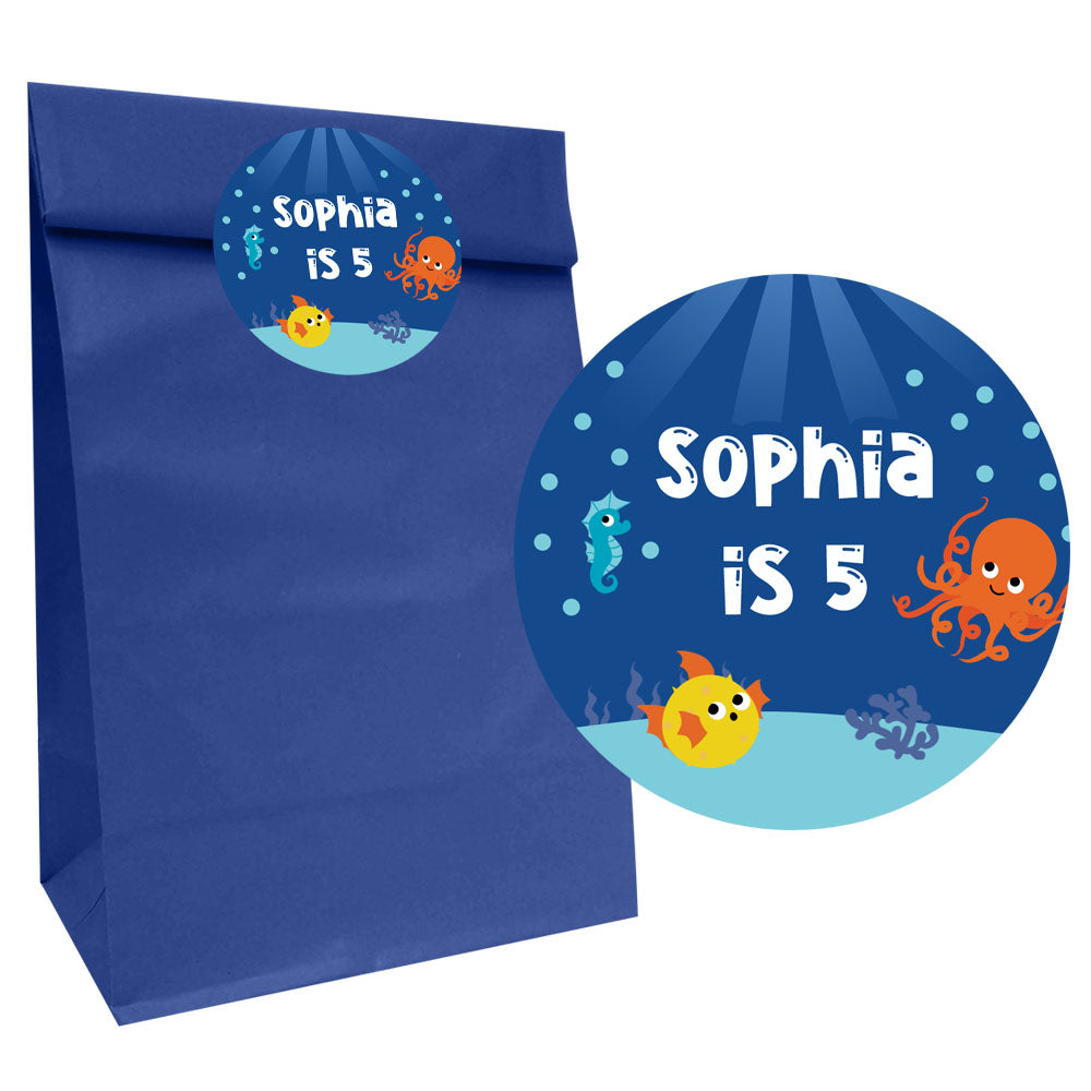 Sealife Party Bags with Personalised Stickers - Pack of 12