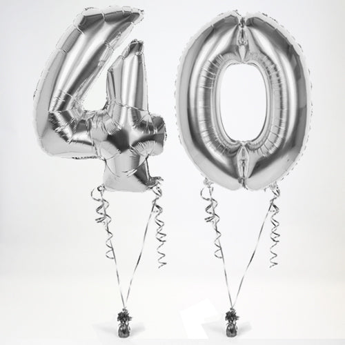 "Inflated Silver Giant 35"" Number Balloons in a Box - 2 Numbers - Choose Your Numbers"