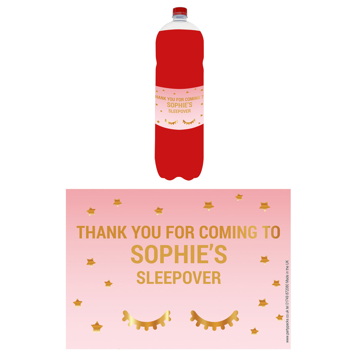 Personalised Bottle Labels - Sleepover - Pack of 4