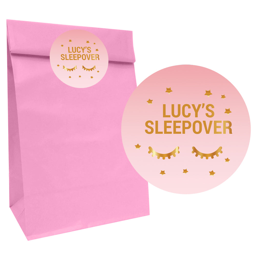 Sleepover Party Bags with Personalised Stickers - Pack of 12
