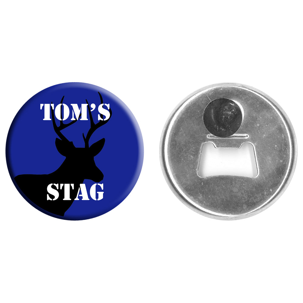 Personalised Bottle Opener Magnet - 58mm - Stag
