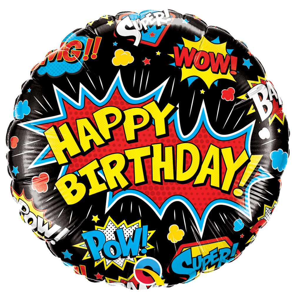 "Birthday Superhero Black 18"" Foil Balloon"