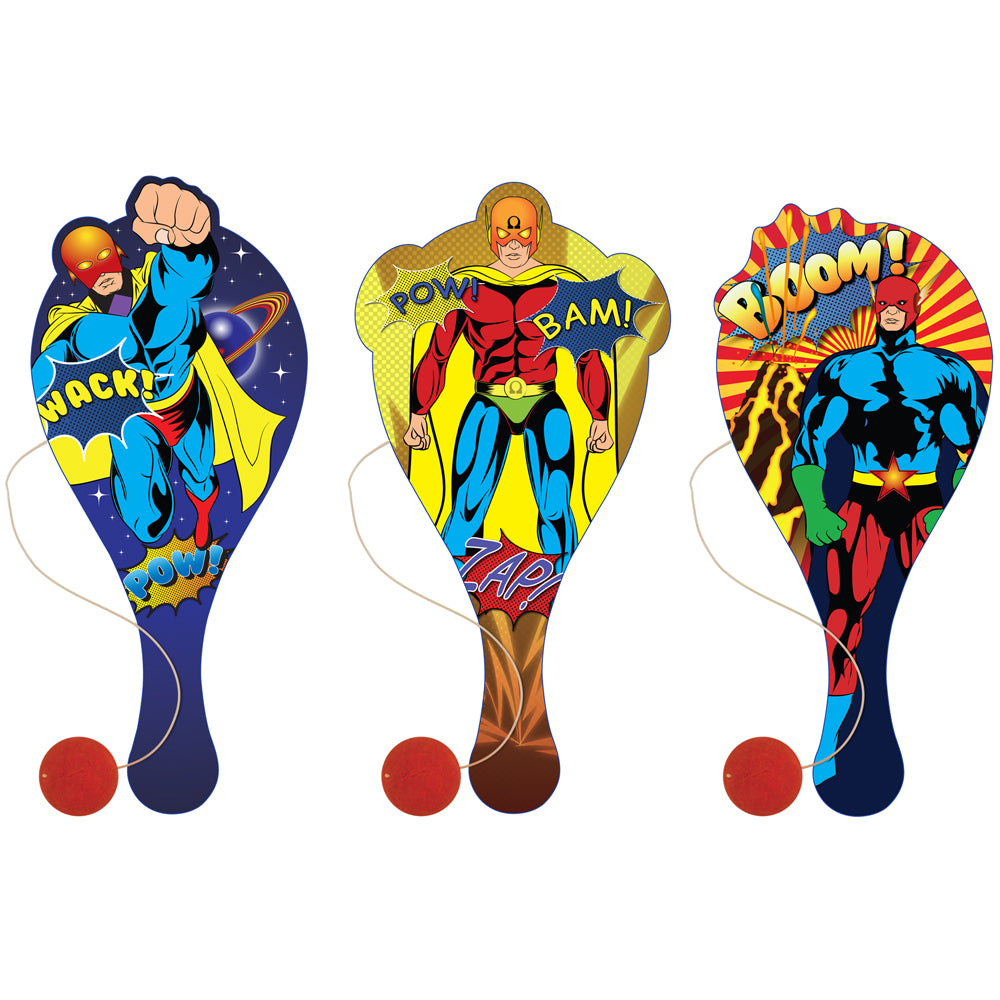 Wooden Superhero Paddle Bat and Ball - Assorted Designs - Each