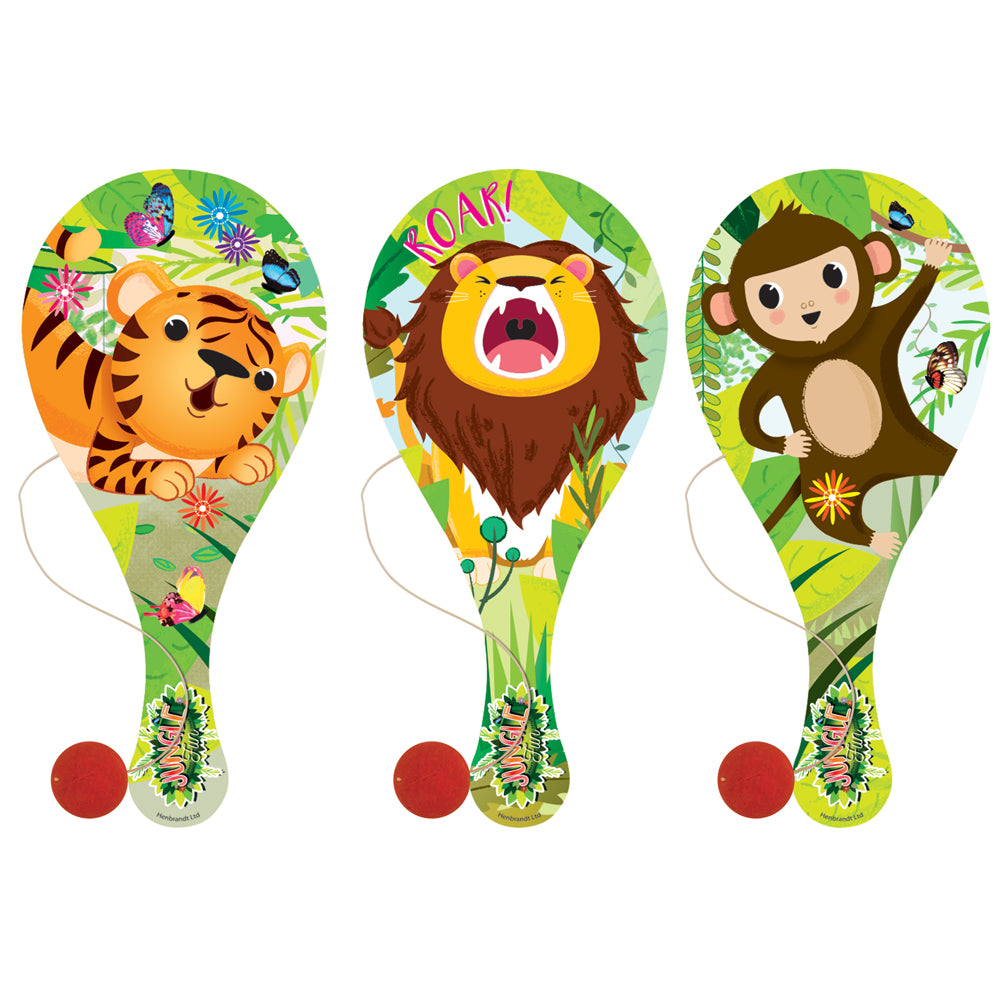 Wooden Jungle Bat and Ball - 22cm - Assorted Designs - Each