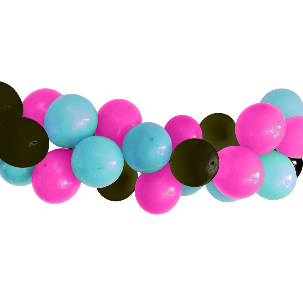 Pink, Black and Turquoise Balloon Arch DIY Kit - 2.5m