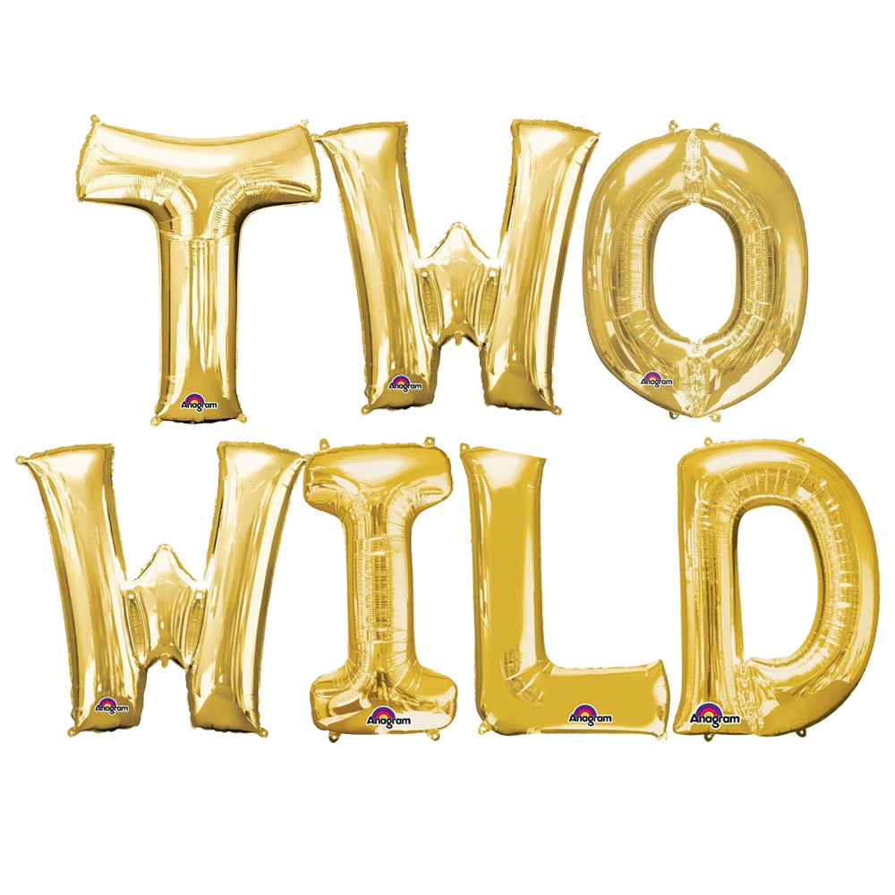 'Two Wild' Gold Foil Letter Balloon Pack