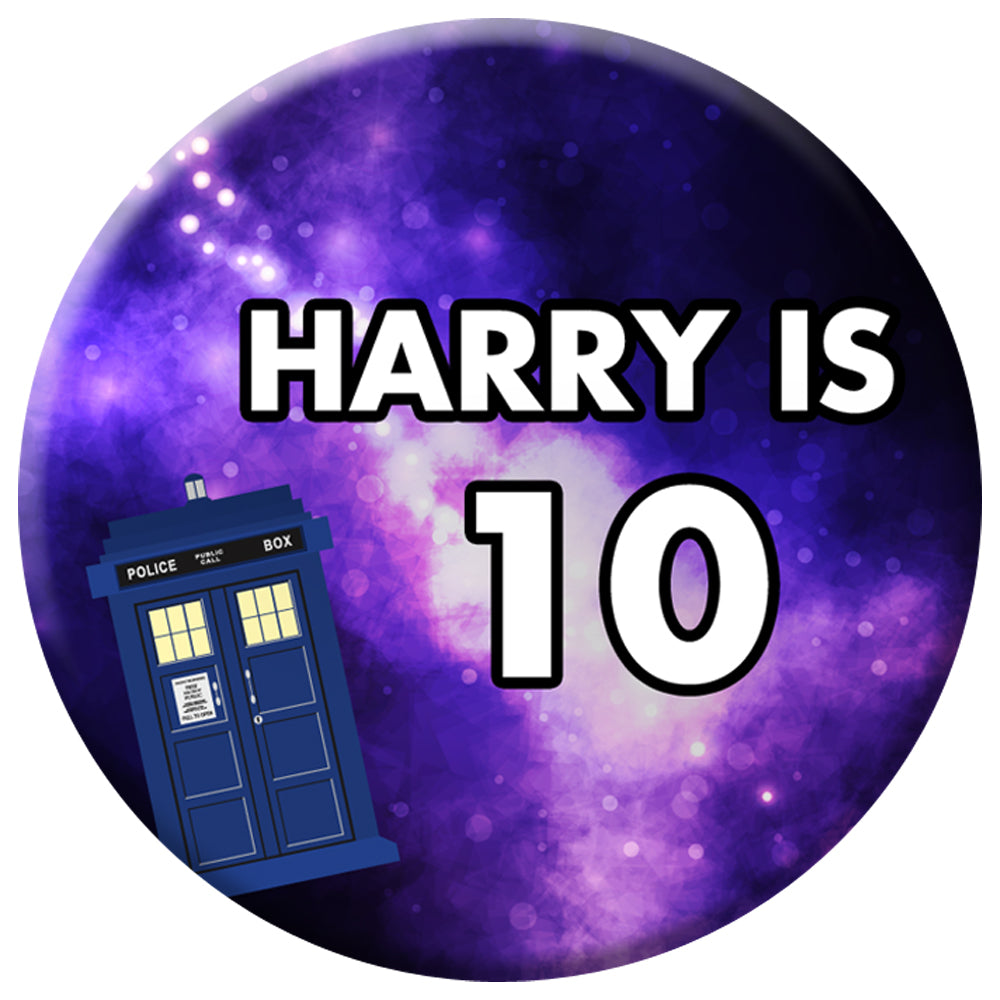 Personalised Time Travel Police Box Badge - 58mm