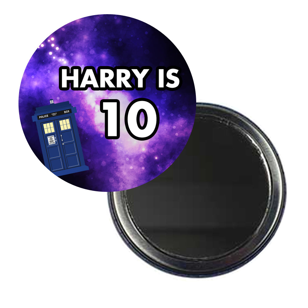 Time Travel Police Box Personalised Pocket Mirror - 58mm - Each