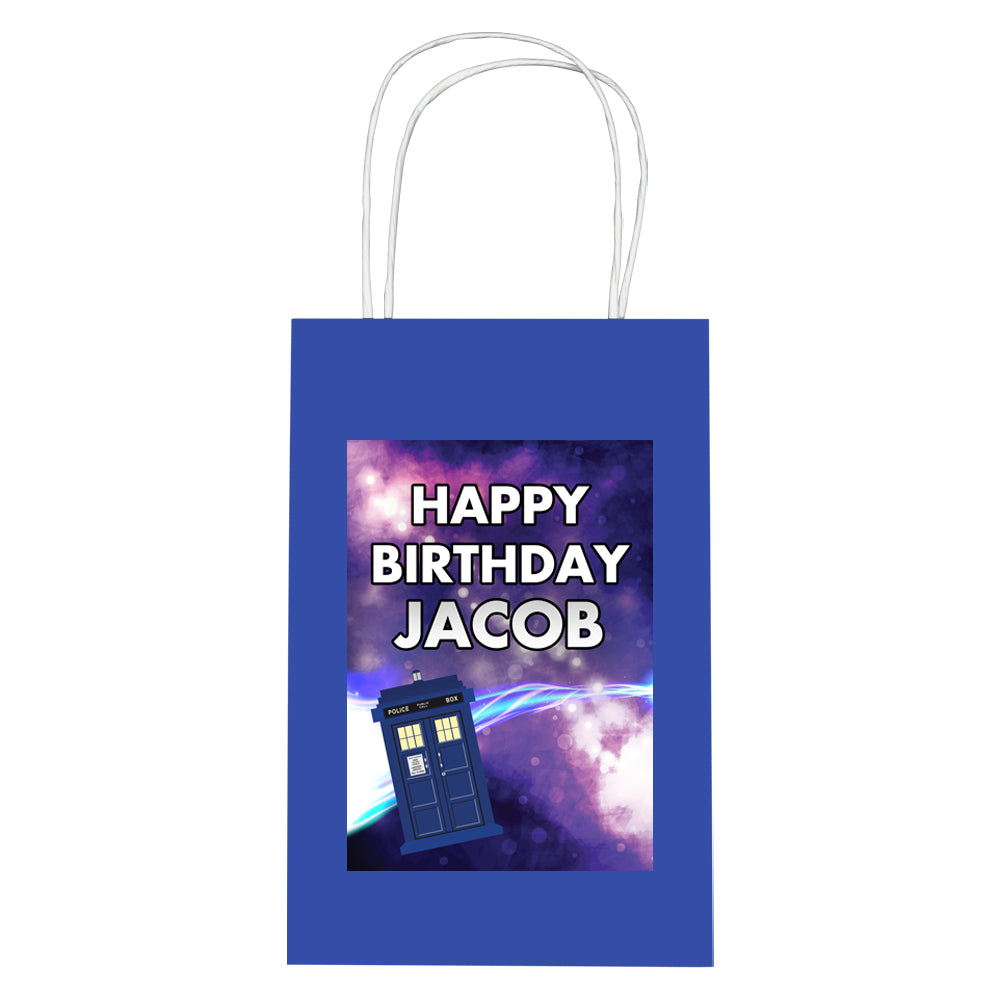 Personalised Time Travel Police Box Paper Party Bags - Pack of 12