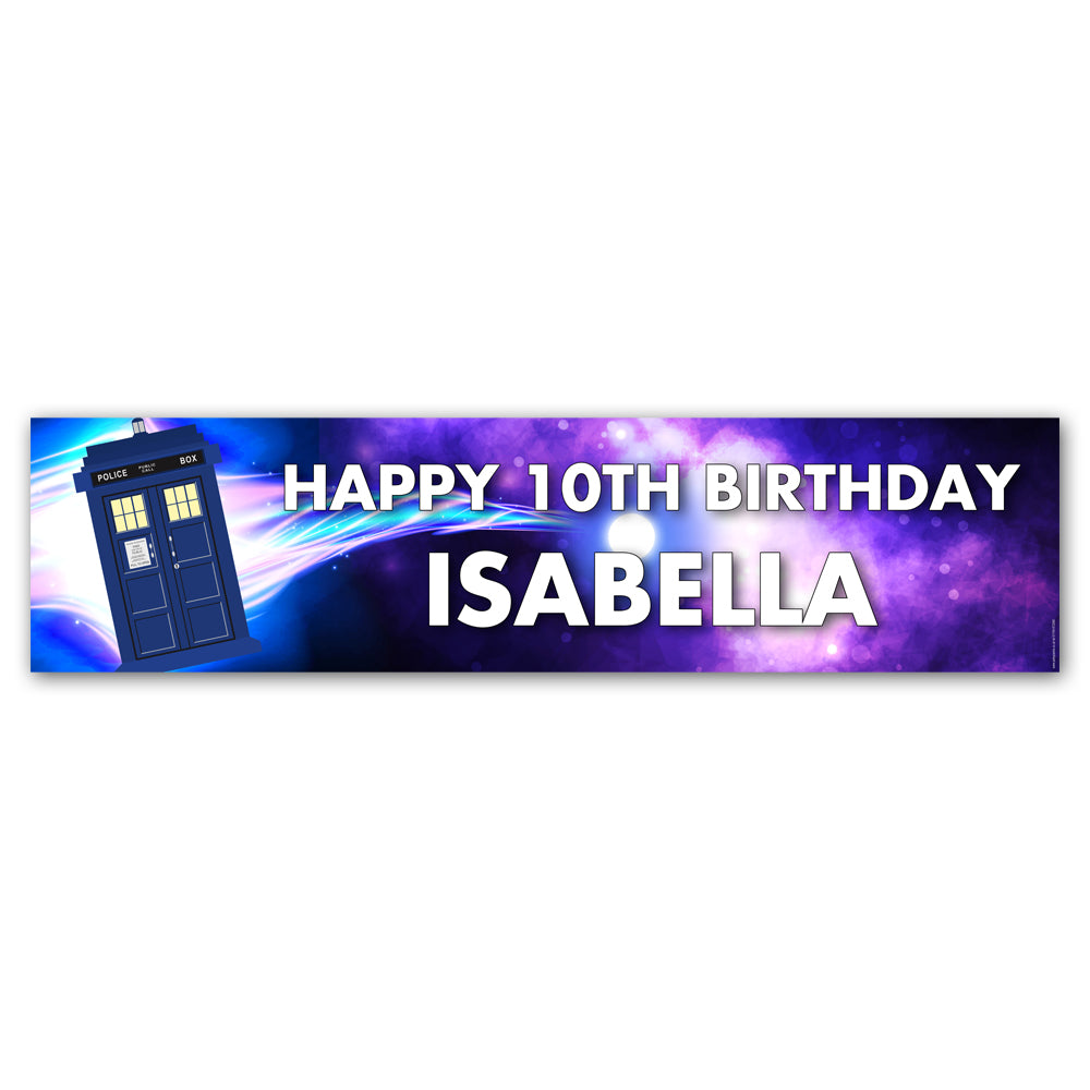 Time Travel Police Box Personalised Banner - 1.2m
