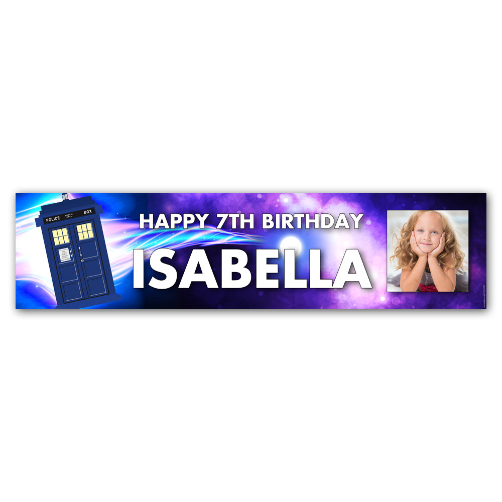 Time Travel Police Box Personalised Photo Banner Decoration - 1.2m