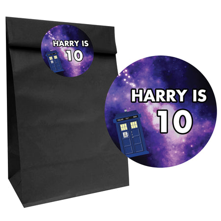 Time Travel Police Box Party Bags with Personalised Stickers - Pack of 12