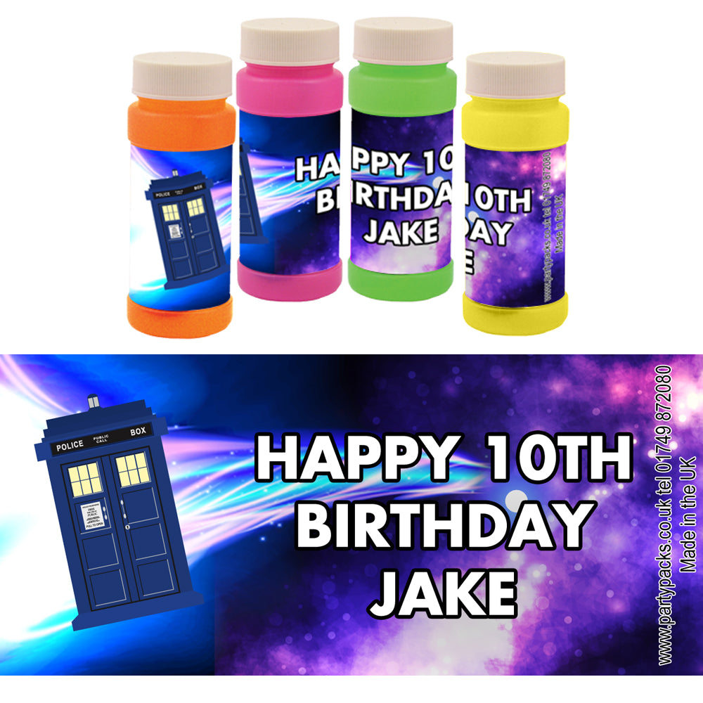 Personalised Bubbles - Time Travel Police Box - Pack of 6