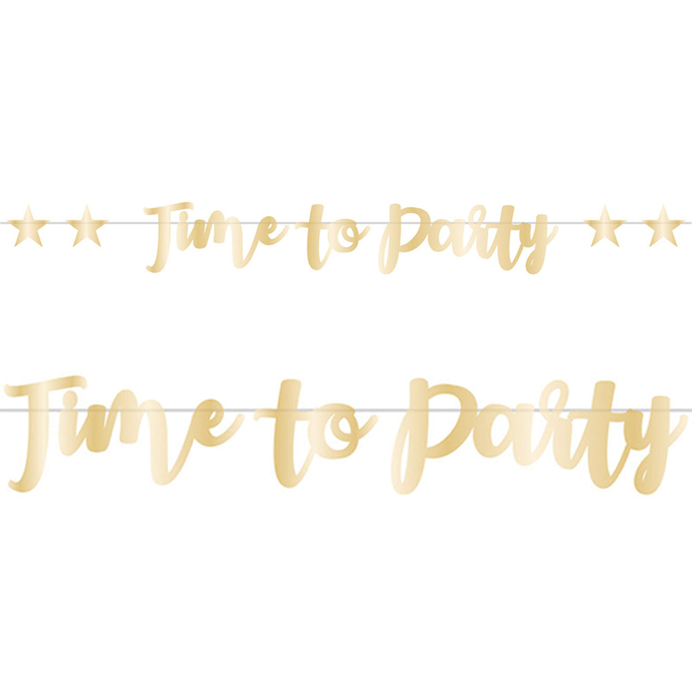 Time to Party Foil Letter Banner - 2.5m