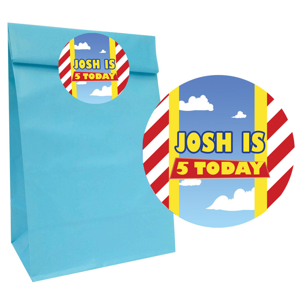 Toy Story Party Bags with Personalised Stickers - Pack of 12