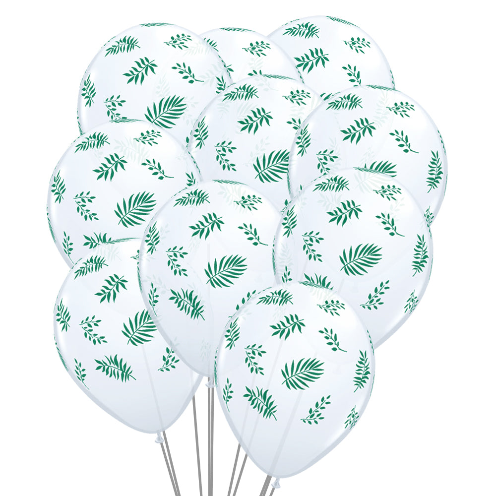"Tropical Greenery 11"" Latex Balloons - Pack of 10"