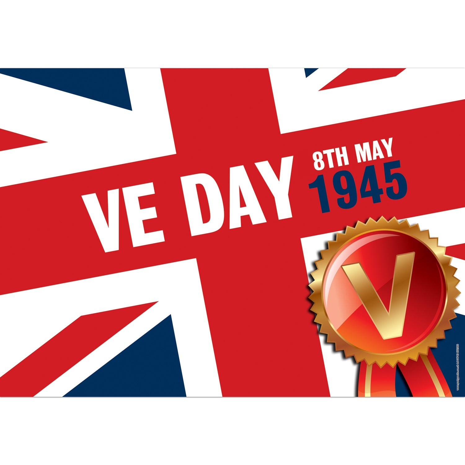 VE Day Union Jack Poster Decoration - A3