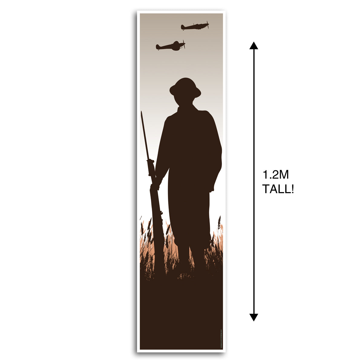 World War 2 WWII British Soldier Silhouette Portrait Wall Banner Decoration - 1.2m