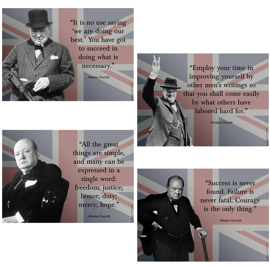 Winston Churchill Union Jack Quotes Posters - A3 - Pack of 4