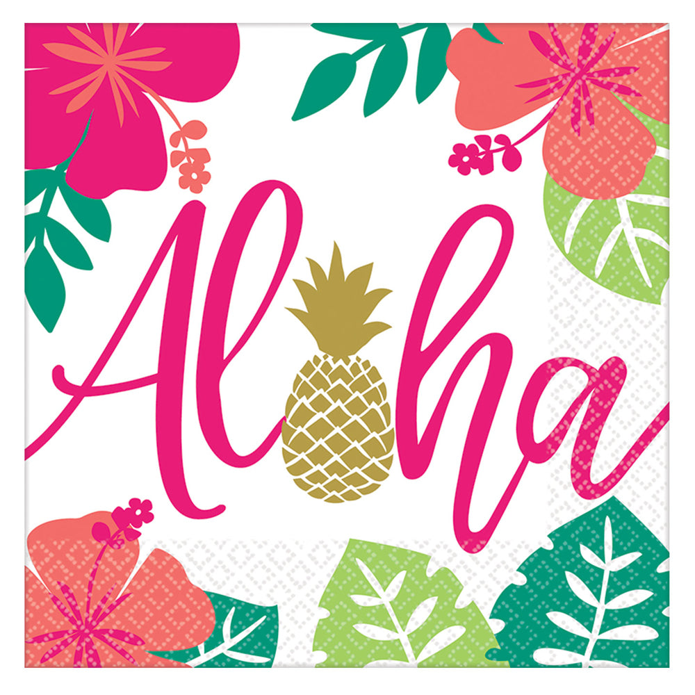 Aloha Tropical Paper Napkins - Pack of 16