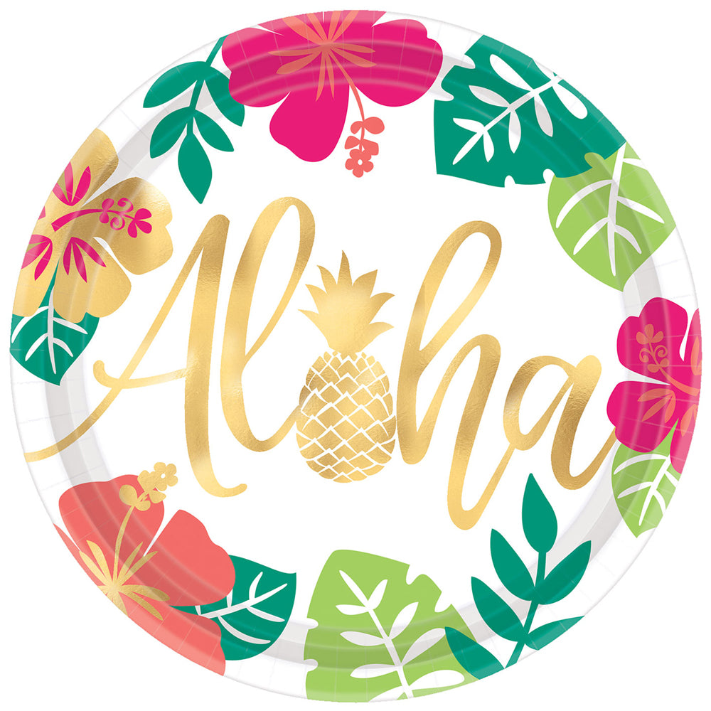 Aloha Tropical Party Paper Plates - Pack of 8 - 25cm