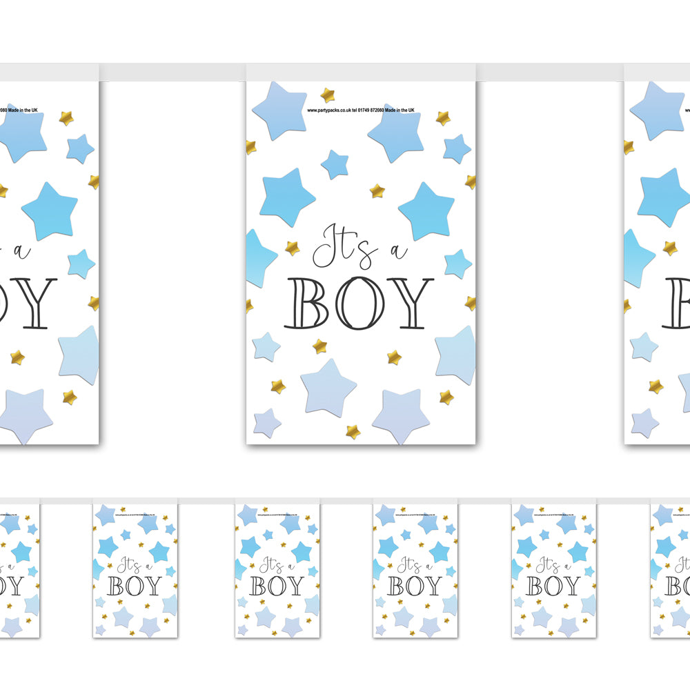 Blue Ombre Stars 'It's a Boy!' Baby Shower Flag Paper Bunting Decoration