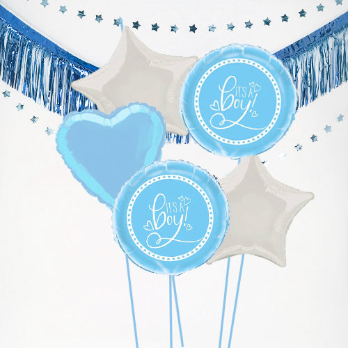 Inflated It's a Boy Baby Balloon Bundle in a Box