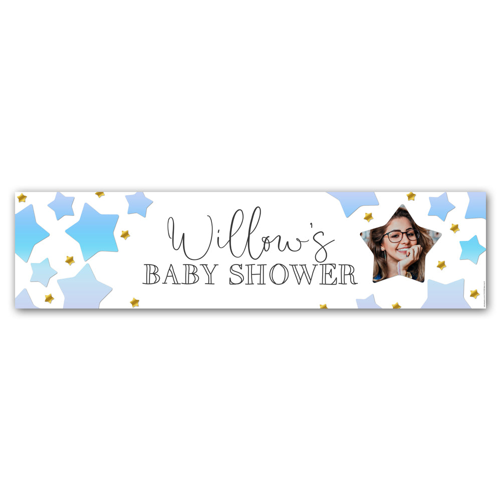 Blue Ombre Stars Baby Shower Personalised Photo Banner