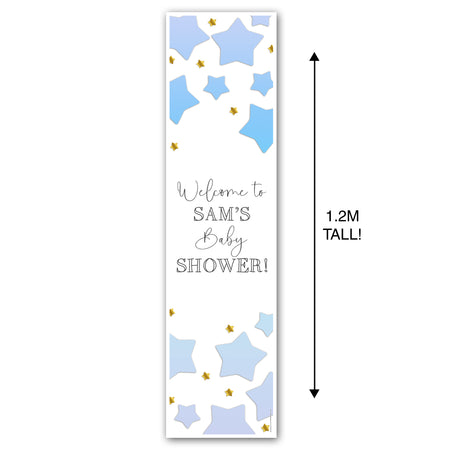 Blue Ombre Stars Baby Shower Personalised Portrait Wall & Door Banner Decoration