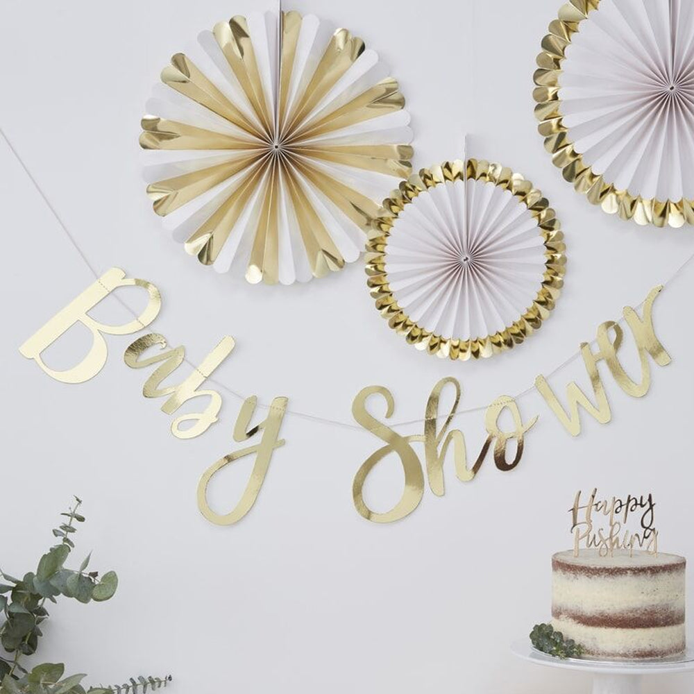 Gold Baby Shower Bunting - 1.5m